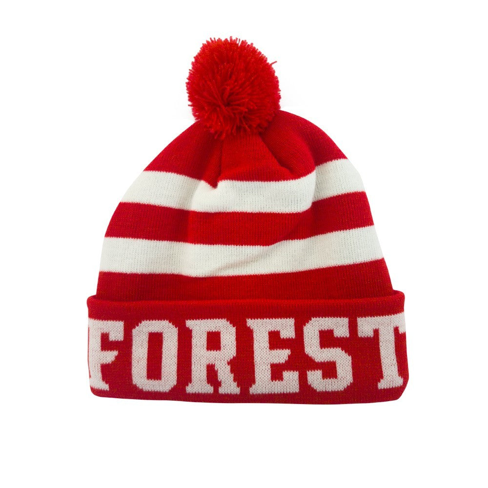 NFFC Junior Red/White Fleece Lined Bobble Hat - Nottingham Forest