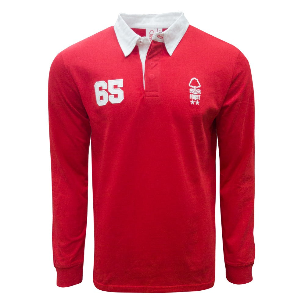 NFFC Mens Red Long Sleeve Rugby Polo - Nottingham Forest