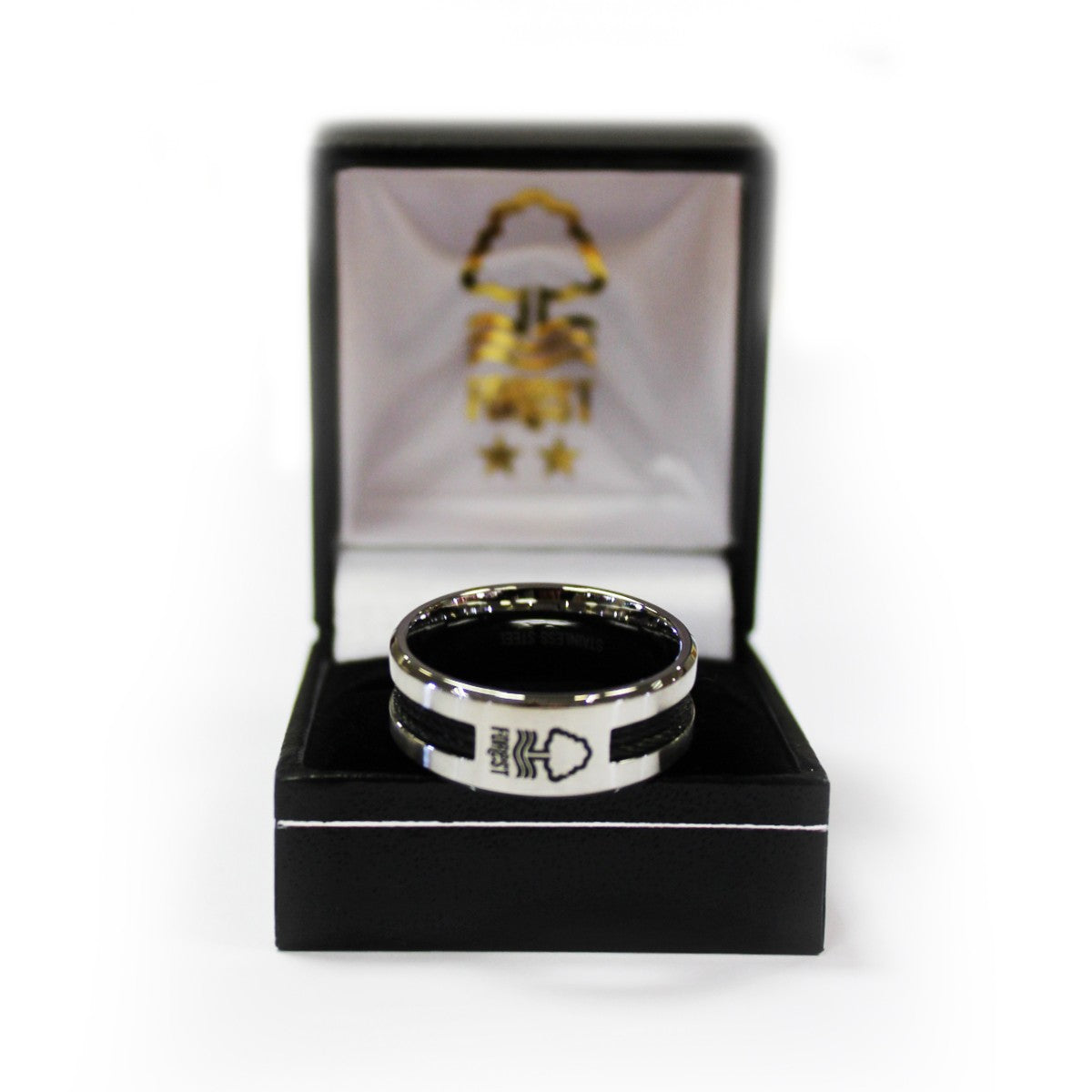NFFC Black Inlay Crest Ring - Nottingham Forest