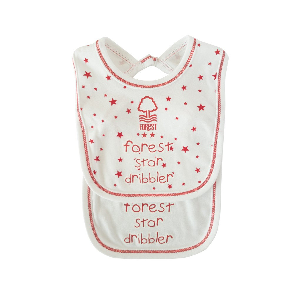 NFFC Baby Star Bibs 2 Pack - Nottingham Forest