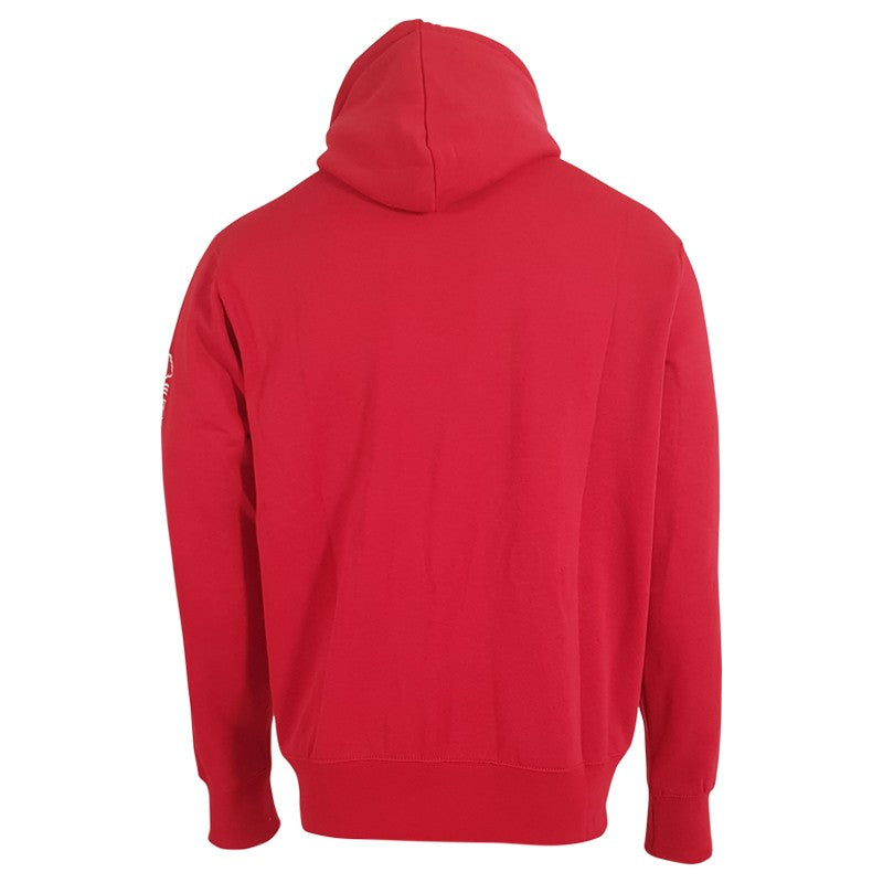 NFFC Mens Red Terry Text Hoodie