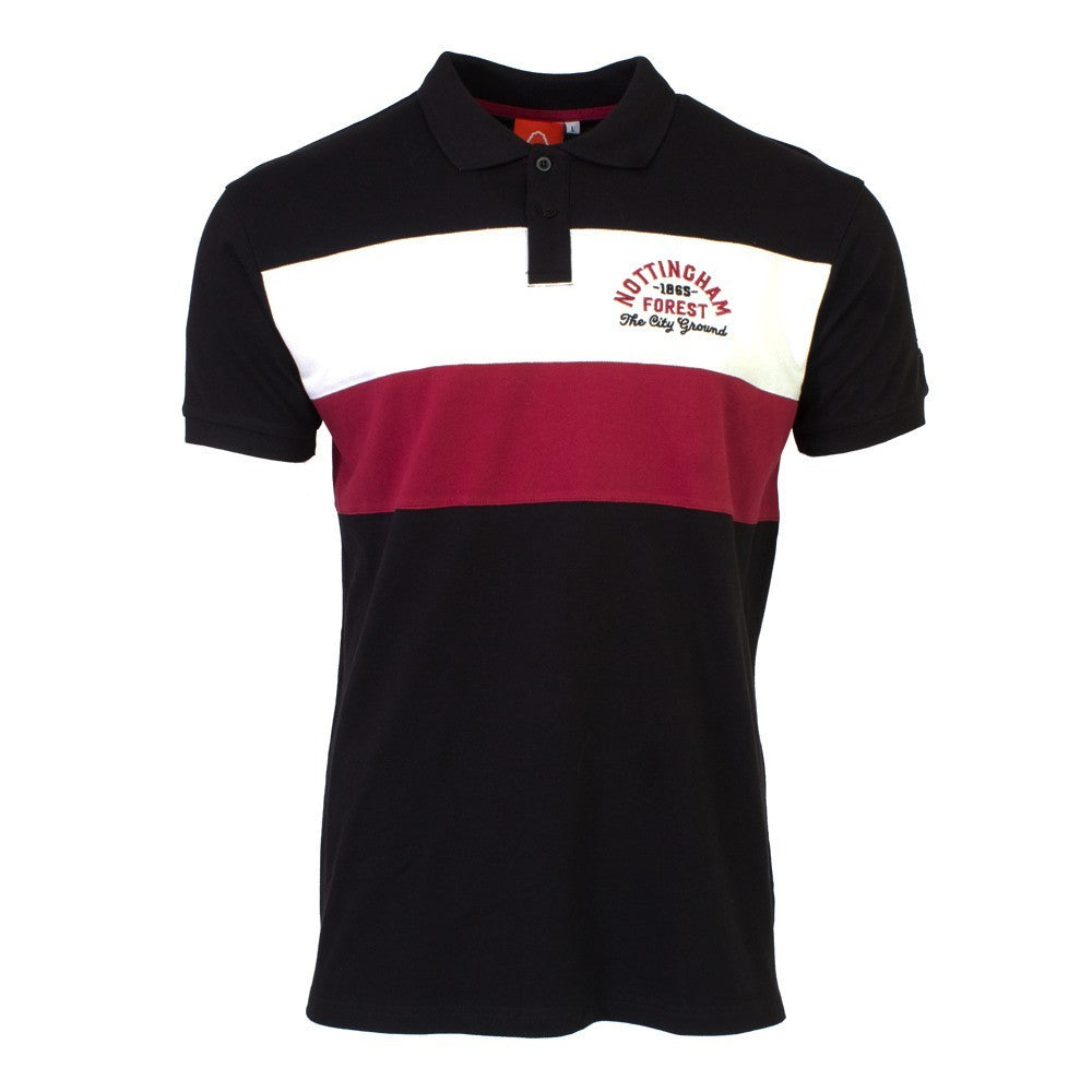 NFFC Junior Black Two Stripe Polo - Nottingham Forest