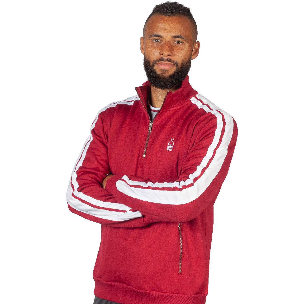 NFFC Mens Red Striped Sleeve Half Zip