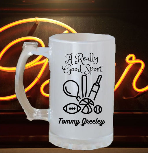 "Personalized ""A Good Sport"" Frosted Mug - Left Handle"