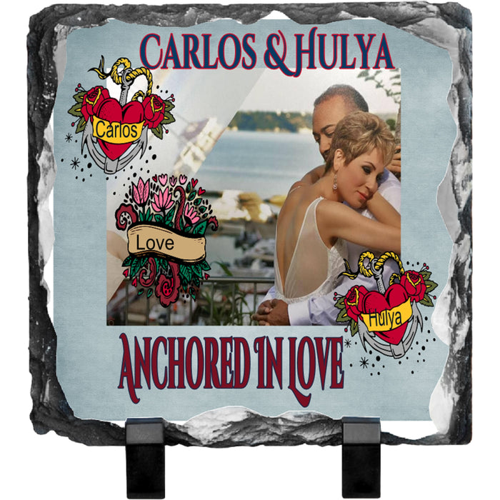 "Personalized ""Anchored in Love"" Photo Slate Plaque-Tablet"