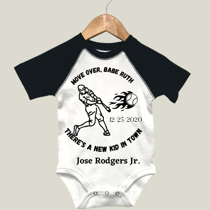 "Personalized Baseball- Themed Onesie - ""There's A New Kid In Town"""