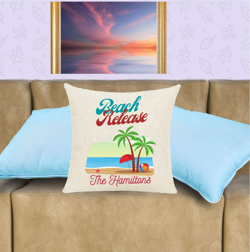 personalized beach and palm tress throw pillow