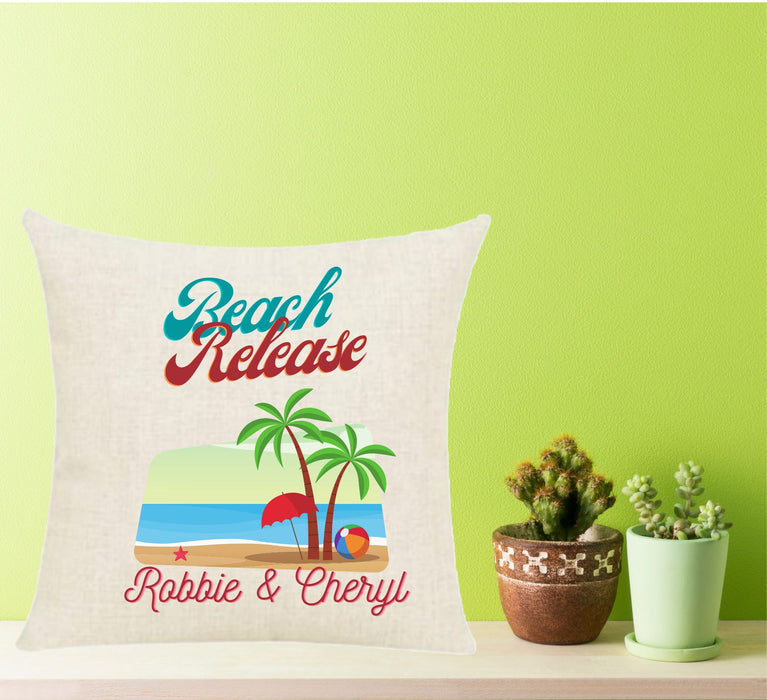 "Personalized "" Beach Release"" Throw Pillow"