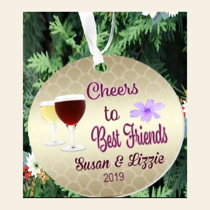"Personalized ""Cheers To Best Friends"" 3""  Round Acrylic Ornament"