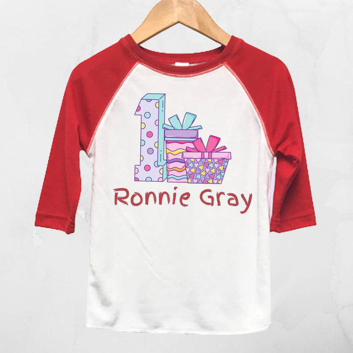 Toddler 1st Birthday Red and White Raglan T-Shirt