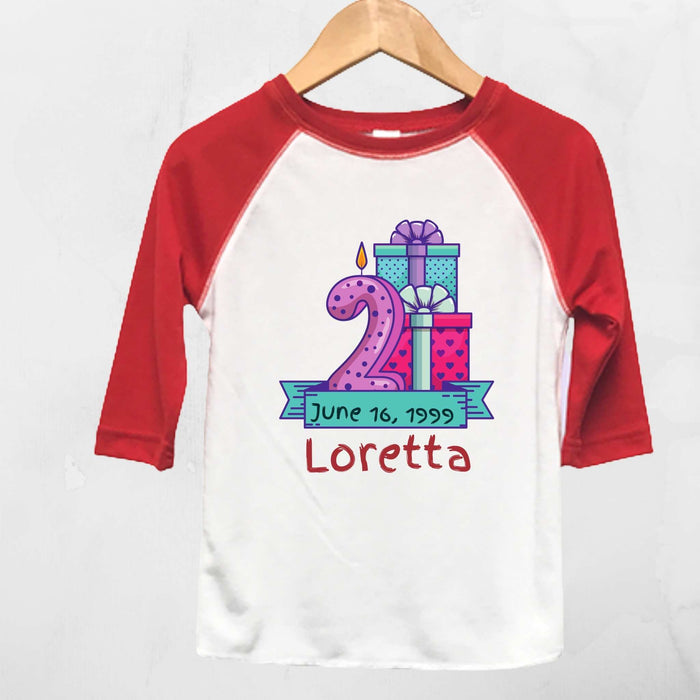 Personalized Red and White Raglan T-Shirt for Toddler's 2nd Birthday