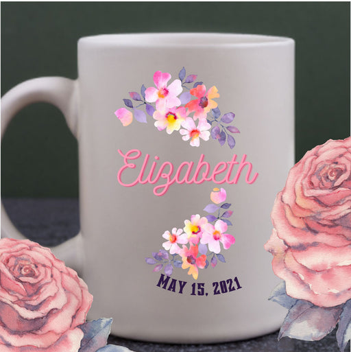 Personalized Wedding Favor Floral Mug, Mother's Day gift