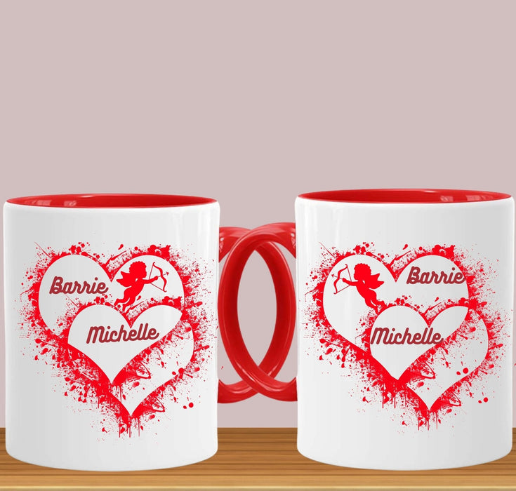 "personalized ""Cupid Has Spoken"" Red Handle 15 oz. Mug Set"