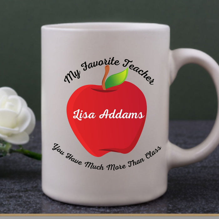"Personalized ""My Favorite Teacher"" Coffee Mug gift - All White"
