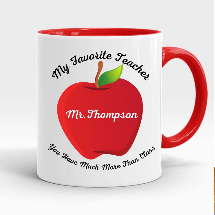 "Personalized ""My Favorite Teacher"" Coffee Mug gift - red handle"