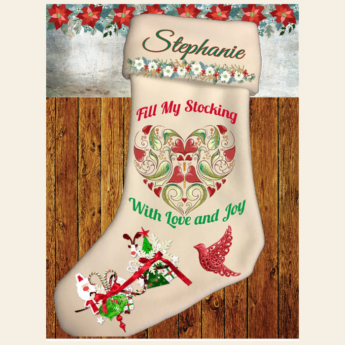 "Personalized ""Fill My Stocking With Love and Joy"" Fleece Christmas Stocking"