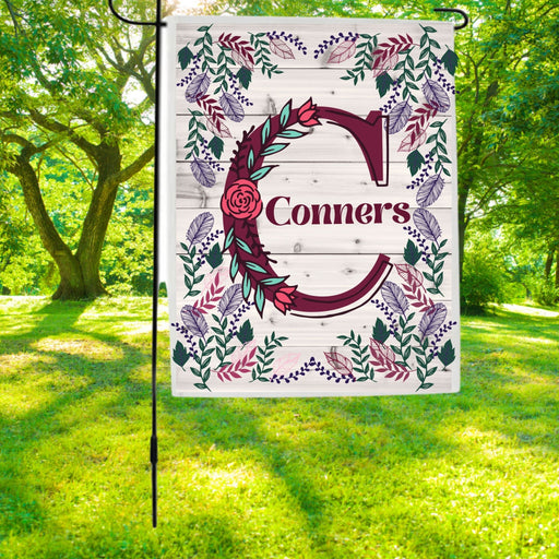 Personalized and Customized Flowery Frame Monogram Garden Flag