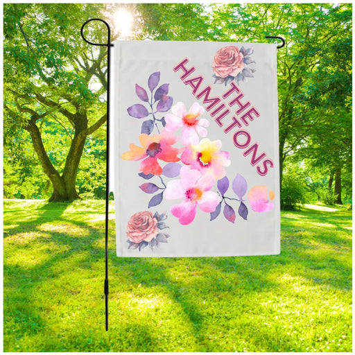 Garden Flag  with Pink Flowers personalized with Family Name
