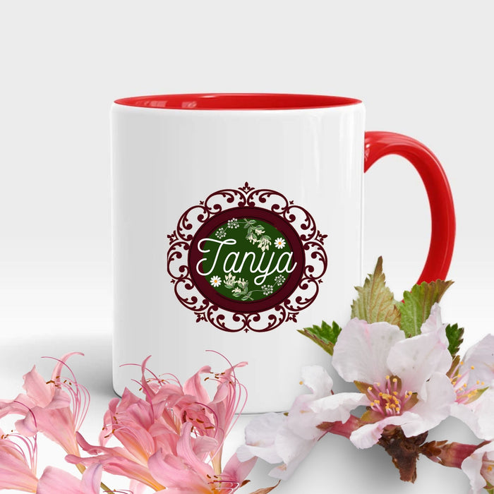 Personalized Decorative Round Frame Flowery Name Mug Gift - Red Handle