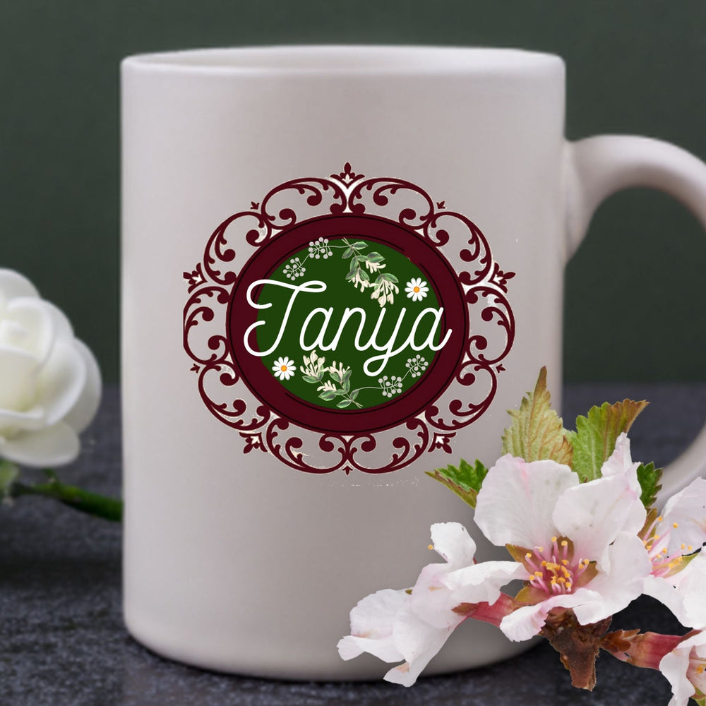 Personalized Decorative Round Frame Flowery Name Mug Gift - All White