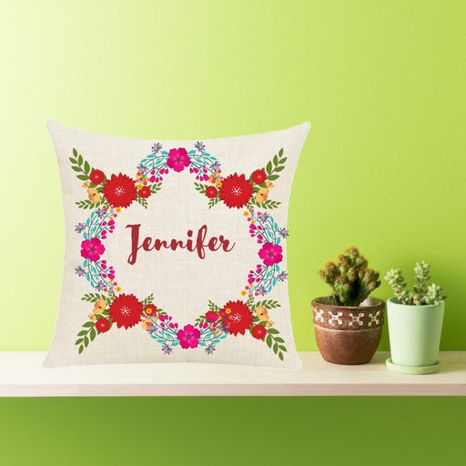 Personalized Decorative Flowery Throw Pillow, House-Warming Gift