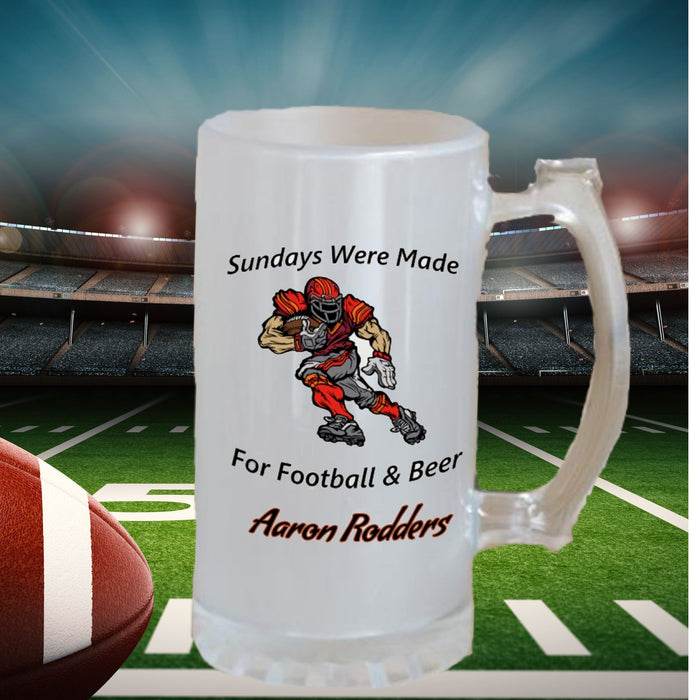 "Personalized ""Sundays Were Made For Football & Beer"" Frosted Stein Gifts Personalized"
