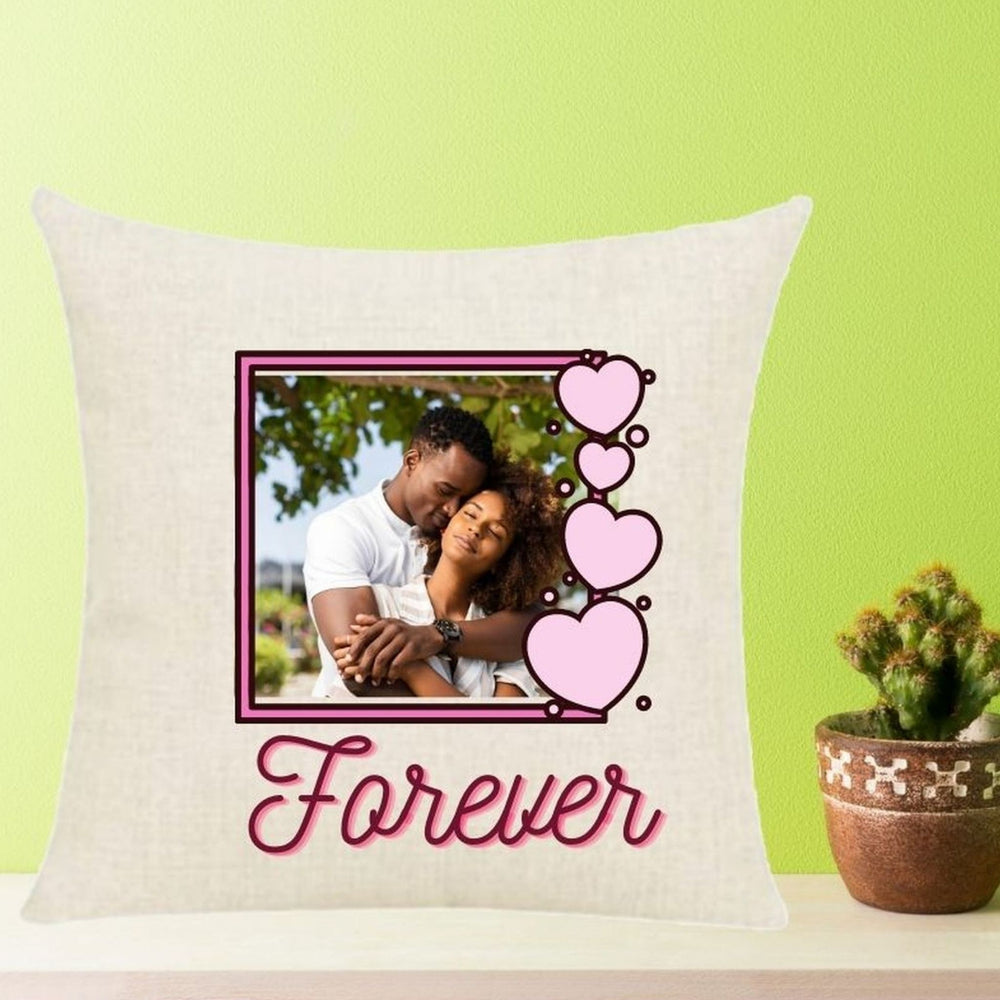 "Personalized ""Forever"" Photo in Hearts Frame Throw Pillow"