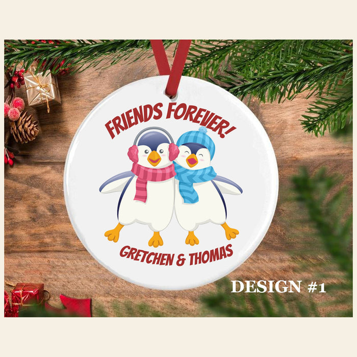 "Personalized  ""Friends Forever"" Ceramic Ornament, BFF Christmas Gift"
