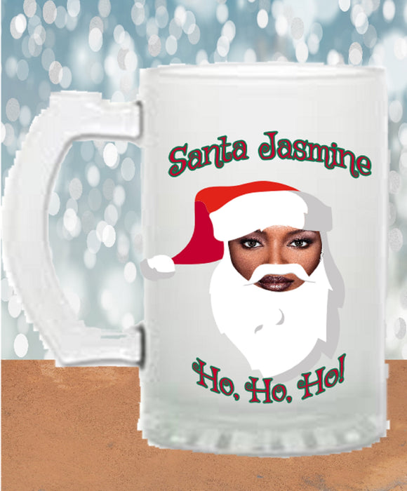 Frosted Beer Stein personalized with photo as Santa