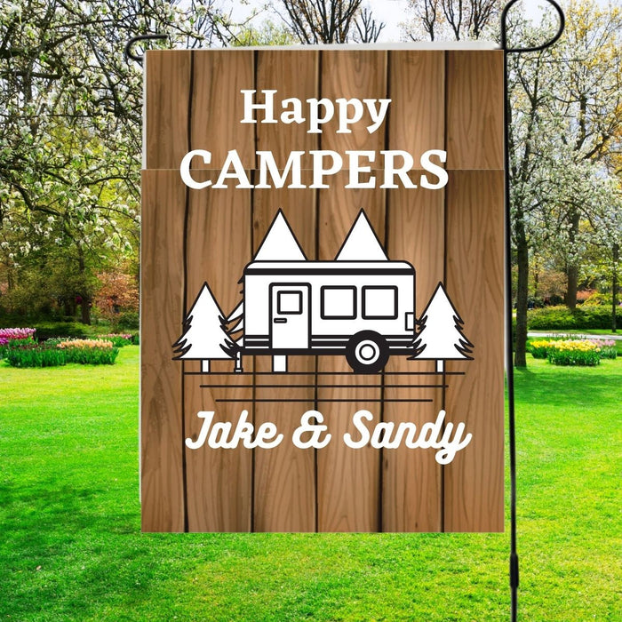 Happy Campers Personalized Garden Flag with Individual  Names