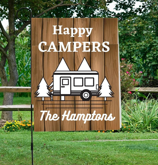 Happy Campers Personalized Garden Flag with Family Name