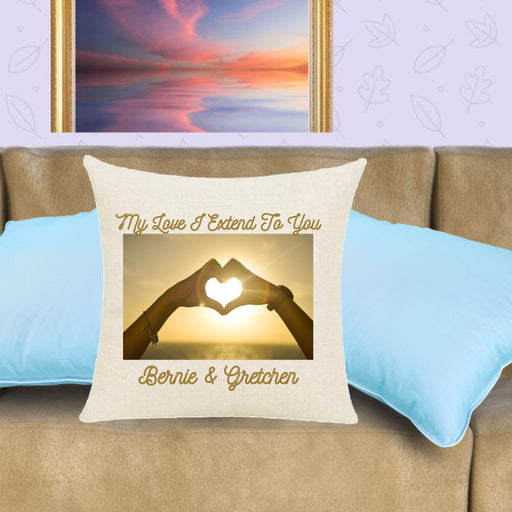 """My Love I Extend To You"" Throw Pillow with two hands forming a heart"