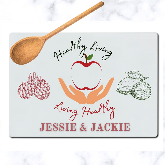Personalized Healthy Living Tempered Glass Cutting Board
