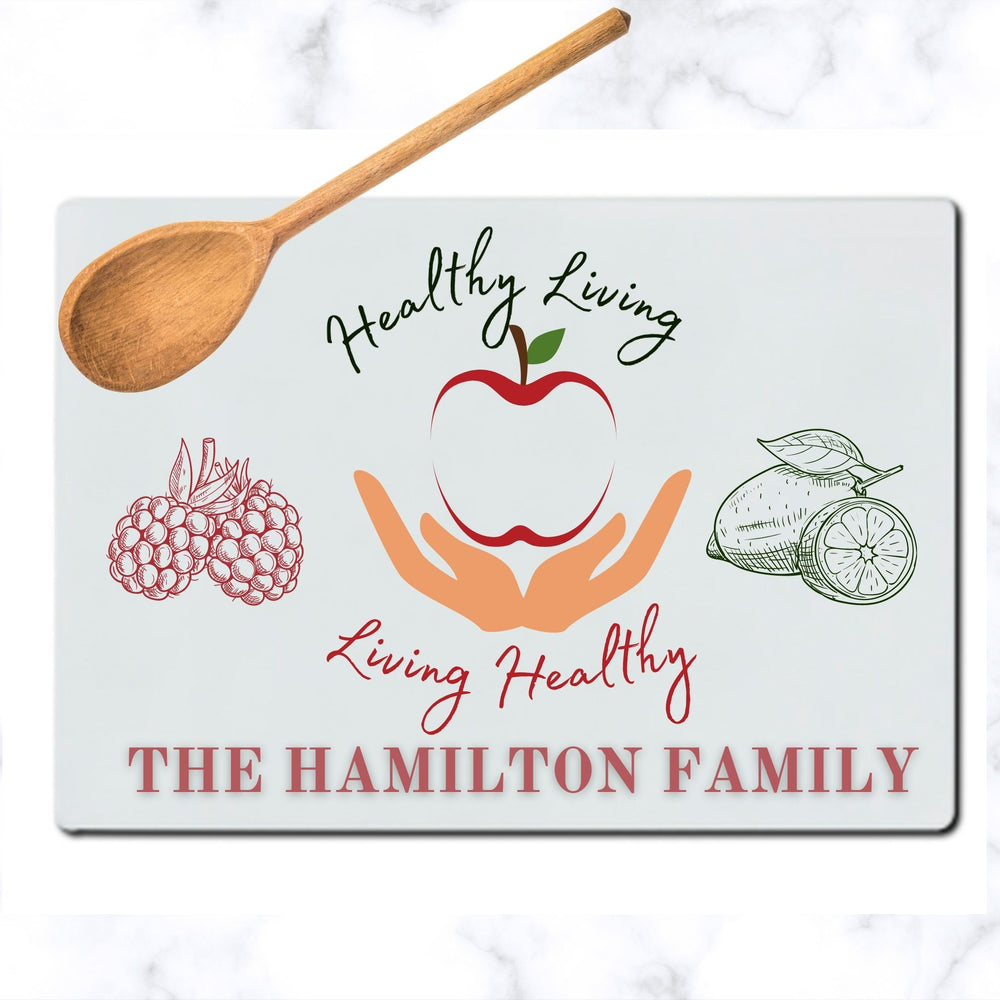 Personalized Healthy Living Glass Cutting Board