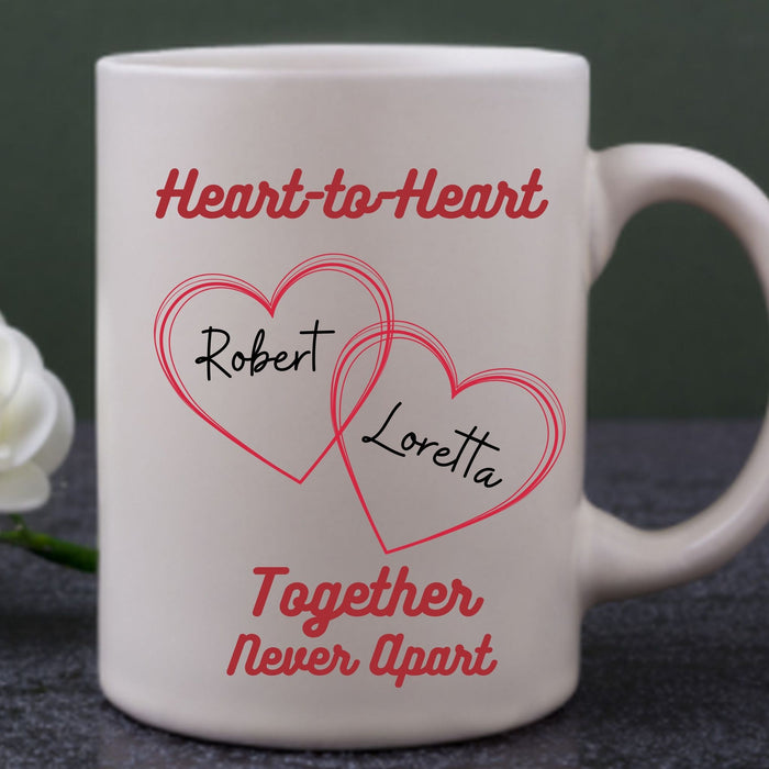 "Personalized ""Heart-to-Heart"" Mug Gift for Couples - All White"