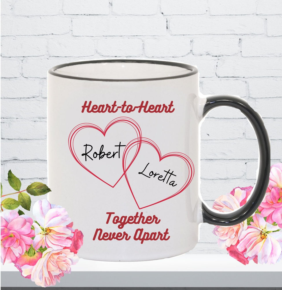 "Personalized ""Heart-to-Heart"" Mug Gift for Couples - Black Handle"
