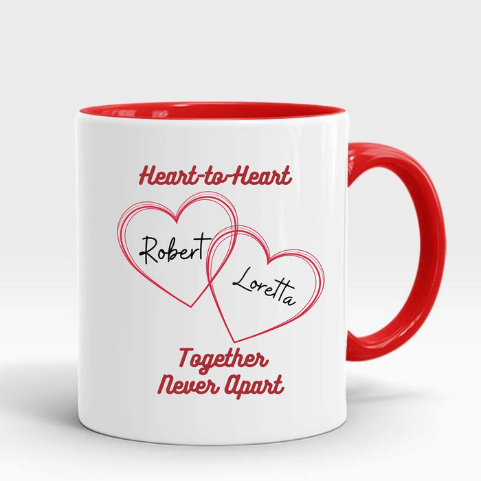 "Personalized ""Heart-to-Heart"" Mug Gift for Couples - Red Handle"