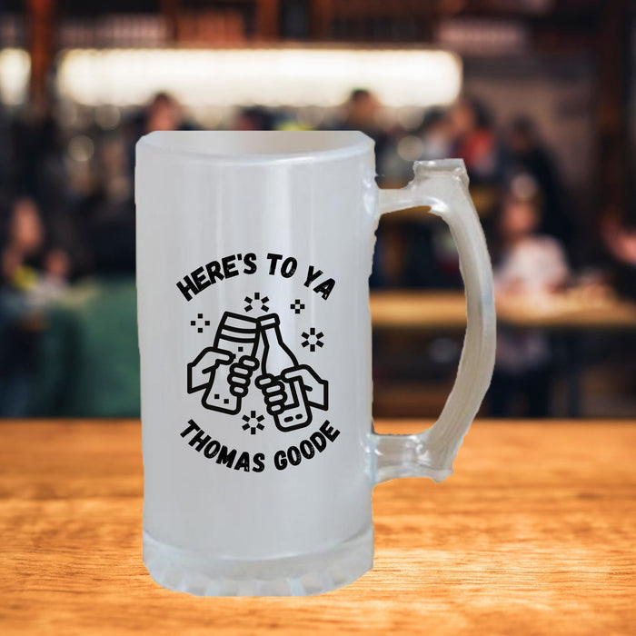 Personalized Beer Stein - Here's To Ya