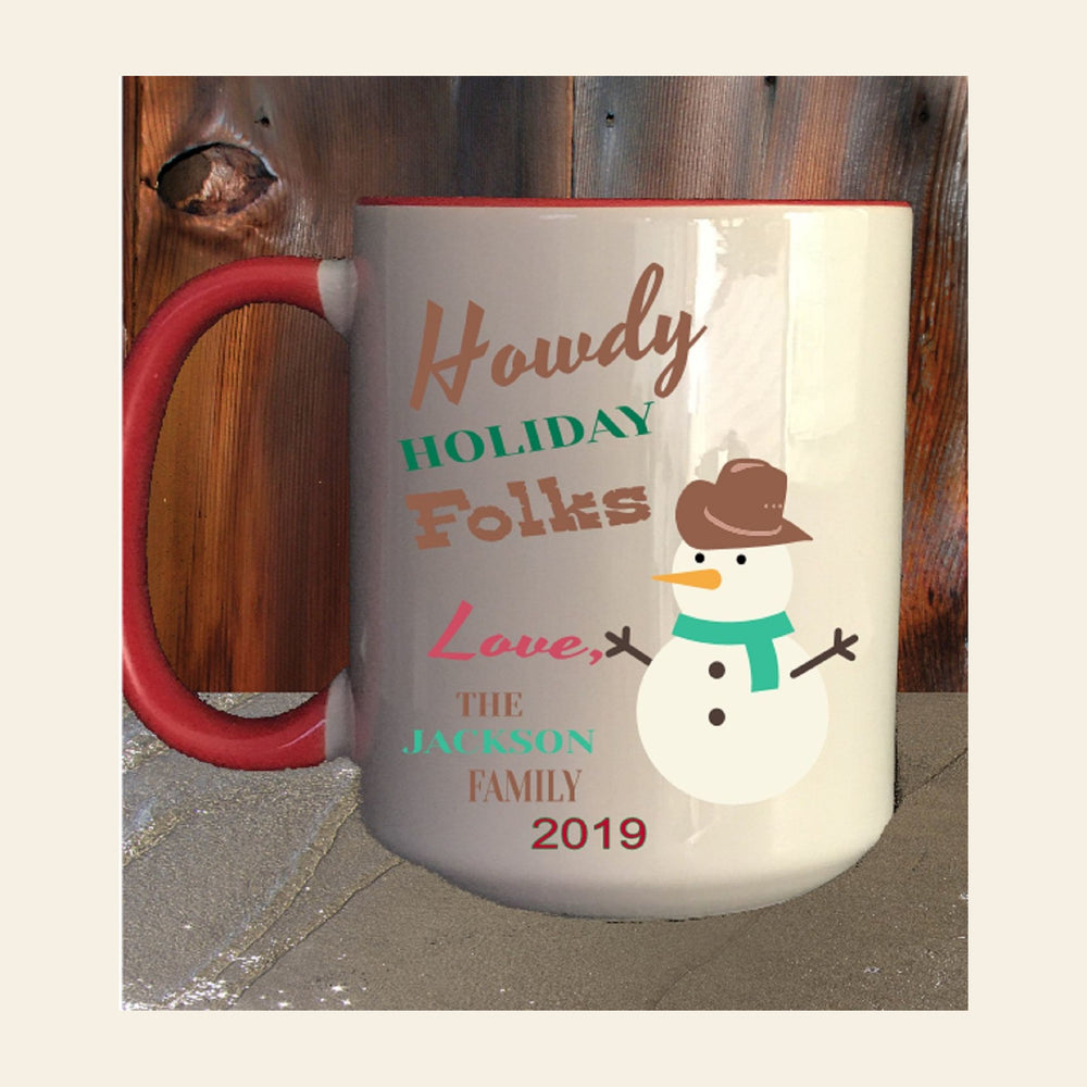 "Personalized ""Howdy Holiday Folks"" Western Snowman Mug by Gifts Personalized"