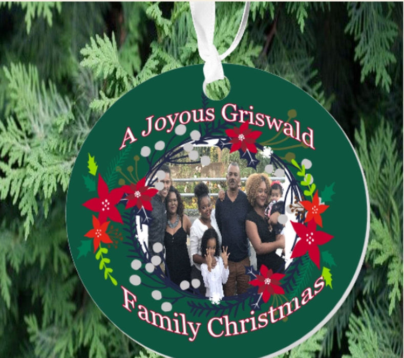 "Personalized ""A Joyous Family Christmas"" Photo Porcelain Ornament"