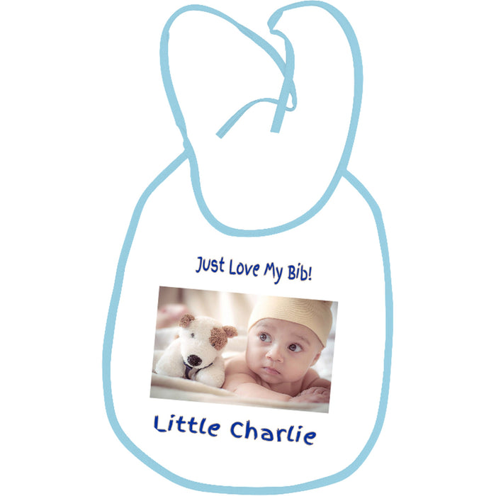 """I Just Love My Bib"" Photo Bib for Boy"
