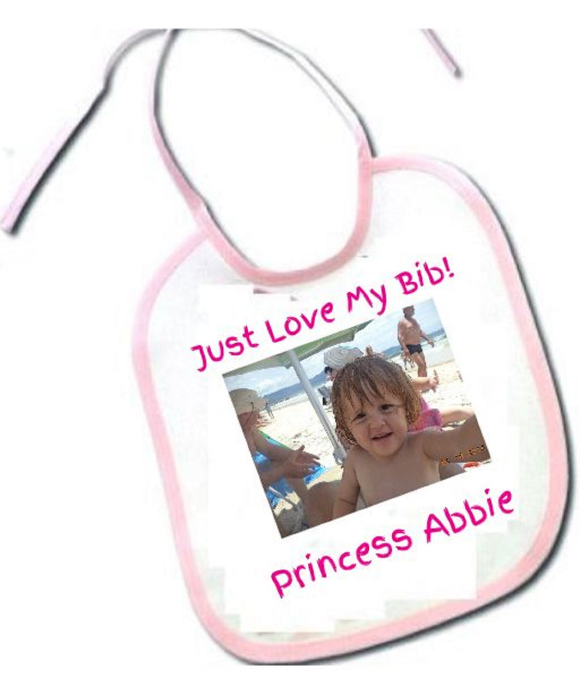 """I Just Love My Bib"" Photo Bib for Girls"