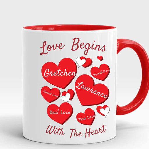 "Personalized ""Love Begins With The Heart"" Decorative Mug"