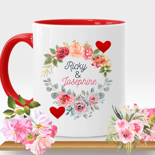 Personalized Red Handle Mug for Valentines Day