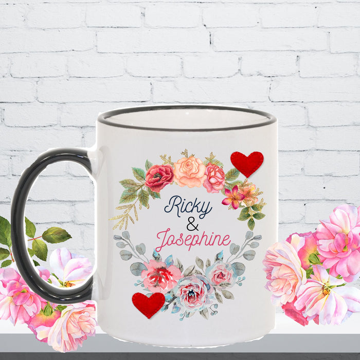 Personalized Love Mug - Flower and Hearts Design for Romance