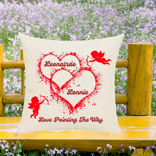 "Personalized ""Love Pointing the Way"" Cupids Throw Pillow gift"