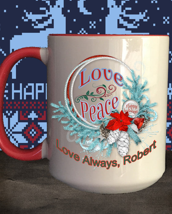 Personalized Love and Peace in Wreath Coffee Cup