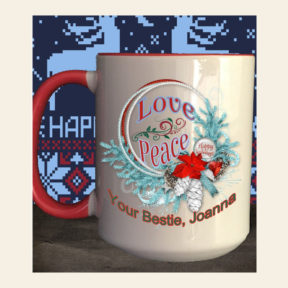 "Personalized ""Love and Peace"" Wreath Coffee Mug"