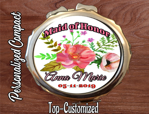 Maid of Honor Round Compact Mirror