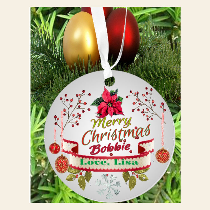 "Personalized ""Merry Christmas"" 3"" Round Acrylic Ornament"
